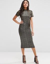 Платье миди из блестящей ткани Motel Wavery - Черный