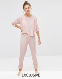 Мягкая персиковая пижама со свитшотом и джоггерами Chelsea Peers - Розовый