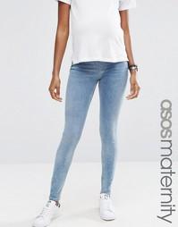 Выбеленные джинсы с классической талией и потертостями ASOS Lisbon - Синий