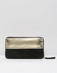 Кожаный кошелек со вставкой металлик Urbancode - Черный