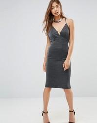 Облегающее платье миди с бретельками и декольте Oh My Love - Серый