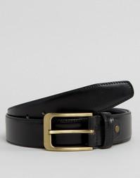 Строгий черный кожаный ремень 7X - Черный