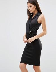 Платье миди с запахом и поясом AX Paris - Черный