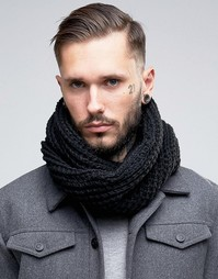 Черный шарф‑снуд крупной вязки 7X - Черный