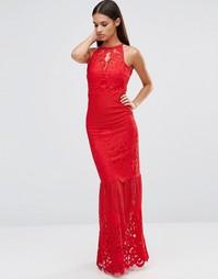 Кружевное платье макси с кружевным низом Lipsy - Красный