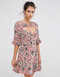 Платье с принтом и шнуровкой For Love and Lemons Ayla - Розовый