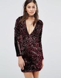 Облегающее платье с глубоким вырезом и пайетками Motel Meli - Красный