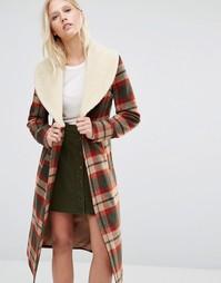 Пальто в клетку с воротником из искусственной овечьей шерсти Cooper & Stollbrand - Мульти