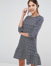 Платье с баской по краю и геометрическим принтом Closet - Темно-синий