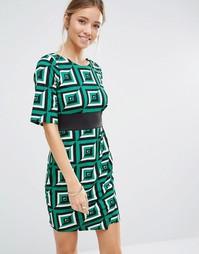 Платье с геометрическим принтом и отделкой Closet - Зеленый