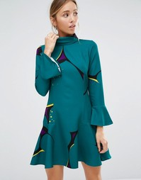 Платье с баской на рукавах и по краю Closet - Зеленый