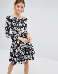 Монохромное платье в стиле бардо Closet - Черный