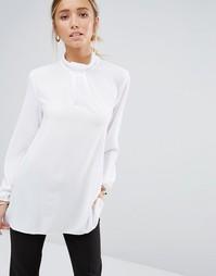Блузка с длинными рукавами и бантом у горловины Closet - Белый