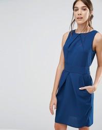Синее платье-тюльпан с цветочным принтом Closet - Фиолетовый