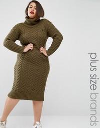 Вязаное платье миди в стиле милитари Alice & You - Зеленый