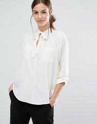 Шифоновая блузка с завязкой спереди Abercrombie & Fitch - Белый