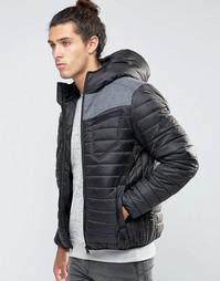 Стеганая куртка с шерстяной вставкой Threadbare - Черный