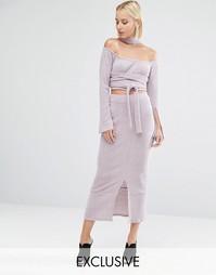 Вязаная юбка миди в рубчик Lavish Alice - Розовый