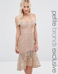 Кружевное платье-футляр с открытыми плечами Jarlo Petite - Бежевый