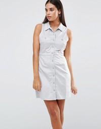 Платье-рубашка из искусственной замши AX Paris - Серый