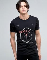 Футболка с геометрическим принтом Jack & Jones - Черный