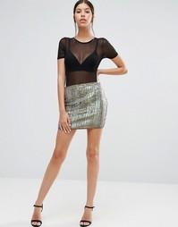 Мини-юбка с радужной отделкой Boohoo - Мульти
