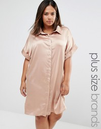 Атласное платье‑рубашка с короткими рукавами Missguided Plus - Бежевый