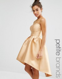 Асимметричное платье для выпускного с сеточкой Chi Chi London Petite - Желтый