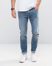 Голубые выбеленные зауженные джинсы стретч Hollister - Синий
