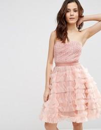 Платье-бандо в молодежном стиле Pixie & Diamond - Розовый