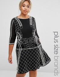 Платье с отделкой и расклешенной юбкой Lovedrobe Luxe - Черный