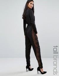 Комбинезон с длинными рукавами и кружевными вставками Y.A.S Tall - Черный