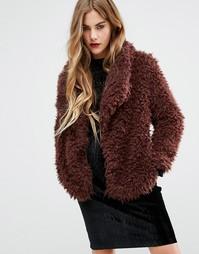 Мягкая меховая куртка First & I - Фиолетовый