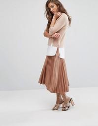 Плиссированная юбка миди Miss Selfridge - Золотой