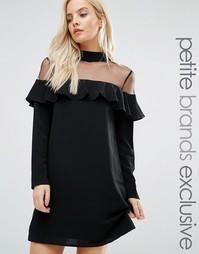 Платье с прозрачной сетчатой вставкой и оборкой Fashion Union Petite - Черный