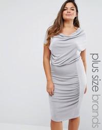 Платье миди размер плюс со свободным воротом Missguided - Серый