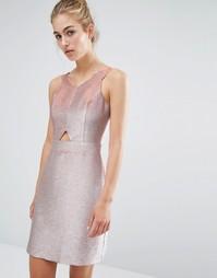 Короткое приталенное платье с эффектом металлик Miss Selfridge - Розовый