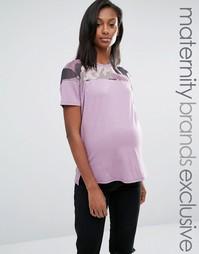 Футболка для беременных с сетчатой камуфляжной вставкой Missguided Maternity - Фиолетовый