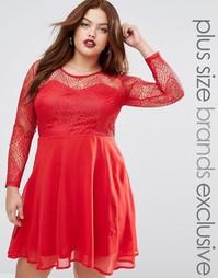 Короткое приталенное платье с кружевной отделкой Boohoo Plus - Красный