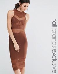 Бандажное платье миди True Decadence Tall - Коричневый