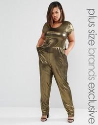 Комбинезон цвета металлик с короткими рукавами One Day Plus - Золотой