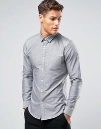 Серая оксфордская рубашка узкого кроя Burton Menswear - Серый