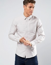 Светло-бежевая оксфордская рубашка слим Burton Menswear - Stone
