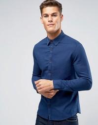 Темно-синяя рубашка узкого кроя из фактурной ткани Burton Menswear - Темно-синий