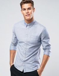 Голубая оксфордская рубашка узкого кроя Burton Menswear - Синий
