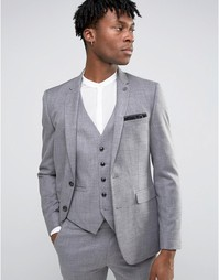 Фактурный пиджак слим Burton Menswear - Серый