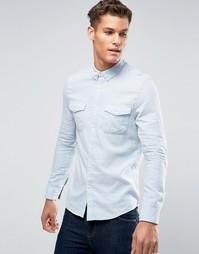 Оксфордская рубашка узкого кроя Burton Menswear - Синий