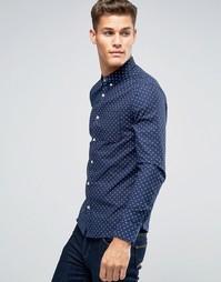 Темно-синяя оксфордская рубашка узкого кроя с принтом Burton Menswear - Темно-синий