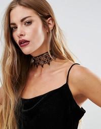 Широкое кружевное ожерелье-чокер Love Rocks Halloween - Черный