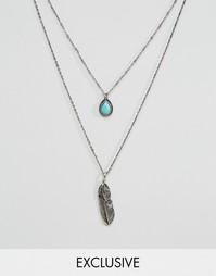 Набор из 2 ожерелий с пером и камнем DesignB London - Серебряный